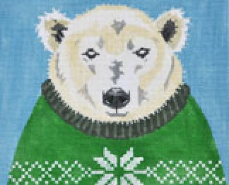 ZIA-98 Holiday Sweater Polar Bear 8 x 8, Mesh 18